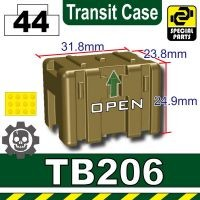 Black TB415 Military Transit Box Compatible with Toy Brick Minifigures